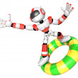 3d Red robot character surfing on lifebuoy. Create 3D Humanoid R — Stock Photo #26662605