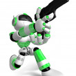 3D Green Robot fire an aimed shot a automatic pistol. Create 3D  — Stock Photo