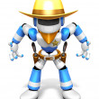 3D blue Robot Sheriff is taking pose a gunfight. Create 3D Human — Stock Photo #26662921