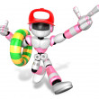 3d Pink robot Rescue operations are on summer vacation. Create 3 - Stock Photo