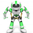 3D Green Robot cowboy is taking pose a gunfight. Create 3D Human — Stock Photo #26663177