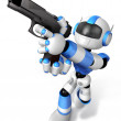 3D blue Robot  fire an aimed shot a automatic pistol. Create 3D  — Stock Photo