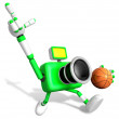 3D green camera character holding a basketball running. Create 3 — Stock Photo #26664479
