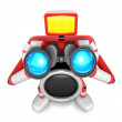 Stock Photo: 3D Red camerCharacter telescopes looking towards front. Cr