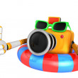 3d Yellow Camera Character dip tube ride. Create 3D Camera Robot — Stock Photo