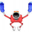 3d Red Camera Character Boxer Victory the serenade. Create 3D Ca — Zdjęcie stockowe