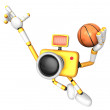 3D Yellow camera basketball player Vigorously jumping. Create 3D — Stock Photo
