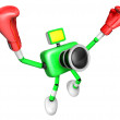 3d Green Camera Character Boxer Victory the serenade. Create 3D — Zdjęcie stockowe