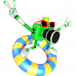 3d green Camera character surfing on lifebuoy. Create 3D Camera — Stock Photo #26666325