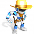 3D blue Robot Sheriff is taking pose a gunfight. Create 3D Human — Stock Photo #26666417