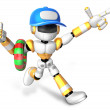 3d Yellow robot go on a waterside excursion. Create 3D Humanoid — Стоковая фотография