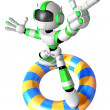 3d Green robot character surfing on lifebuoy. Create 3D Humanoid — Stock Photo #26666475