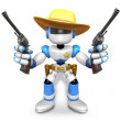 The 3D Blue Robot sheriff holding a revolver gun with both hands — Stock Photo