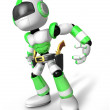 3D Green Robot cowboy is taking pose a gunfight. Create 3D Human — Stock Photo #26666725