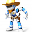 3D blue Robot Sheriff is taking pose a gunfight. Create 3D Human — Stock Photo