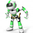 3D Green Robot cowboy is taking pose a gunfight. Create 3D Human — Stock Photo #26666807