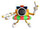 3d Yellow Camera Character dip tube ride. Create 3D Camera Robot — Stock Photo
