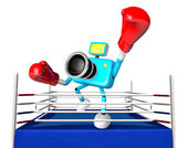 A big punch in the ring blowing 3d cyan camera Character. Create — Stock Photo