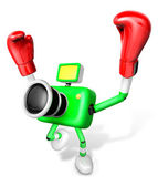 3d yeşil kamera karakter boksör zafer serenat. 3d oluşturmak — Stok fotoğraf