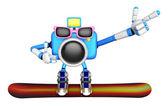 3d Blue Camera Character snowboard a riding. Create 3D Camera Ro — Stock Photo
