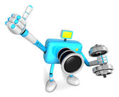 3D cyan Camera character a one Dumbbell curl Exercise. Create 3D — Stock Photo