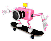 3D Pink Camera Character skateboarding riding . Create 3D Camera — Stock Photo