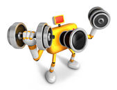 3D Yellow Camera character a Dumbbell curl Exercise. Create 3D C — Stock Photo