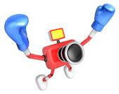 3d câmera red personagem boxeador vitória a serenata. criar 3d ca — Foto Stock
