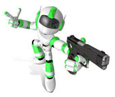3D Green Mascot robot is holding a Automatic pistol pose. Create — Stock Photo