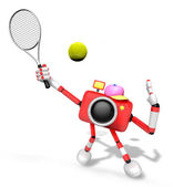 3D red Camera character is a powerful tennis game play exercises — Stock Photo