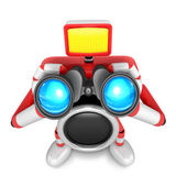 3D Red camera Character telescopes looking towards the front. Cr — Stock Photo