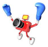 3d kırmızı kamera karakter boksör zafer serenat. 3d ca oluşturmak — Stok fotoğraf