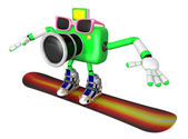 3D Green Camera characte the direction of pointing with both han — Stock Photo