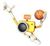 3d aparatu żółty koszykarz energicznie skoki. tworzenie 3d — Zdjęcie stockowe