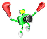 3d grön kamera karaktär boxare seger serenad. skapa 3d — Stockfoto