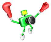 Zielony kamery 3d charakter bokser zwycięstwo serenada. tworzenie 3d — Zdjęcie stockowe