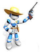 3D Blue Sheriff robot is holding a revolver gun pose. Create 3D — Stock Photo