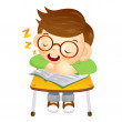 The boy sat down on the chair. Fell asleep on a desk. Education — Stock Vector #27733189