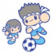 Boy and girl is playing Football. Education and life Character D — Stock Vector #27736101