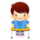 The boy sat down on the chair. Is reading a book on the desk. Ed — Stock Vector