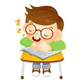 The boy sat down on the chair. Fell asleep on a desk. Education — Stock Vector