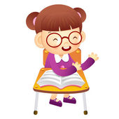 The girl sat down on the chair. From the desk is talking. Educat — Stock Vector