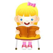 Dívka se posadil na židli. čte knihu na stůl. e — Stock vektor