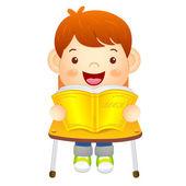 Le garçon est assis sur la chaise. lit un livre sur le bureau. ed — Vecteur
