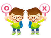Boys are playing OX Quiz game. Education and life Character Desi — Stock Vector