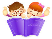 Boys and girls are holding a big book. Education and life Charac — Wektor stockowy