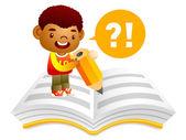 Pojken skriver på anteckningsboken med en stor penna. utbildning en — Stockvektor