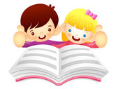 Boys and girls are reading a large book. Education and life Char — Stock Vector