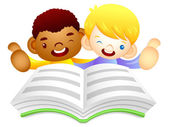 Male children are reading a big book. Education and life Charact — Διανυσματικό Αρχείο