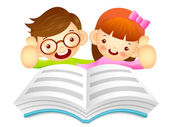 Boys and girls are reading a large book. Education and life Char — Διανυσματικό Αρχείο